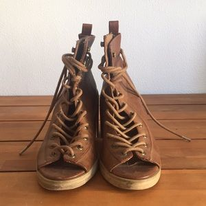 Free People Brown Leather Lace-Up Heels